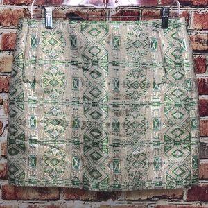 J Crew Factory Green Cream Metallic Brocade Skirt